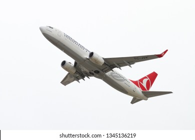 ISTANBUL, TURKEY - SEPTEMBER 30, 2018: Turkish Airlines Boeing 737-8F2 (CN 60014) takes off from Istanbul Ataturk Airport. THY is the flag carrier of Turkey with 330 fleet size and 304 destinations