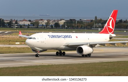 ISTANBUL, TURKEY - SEPTEMBER 30, 2018: Turkish Airlines Airbus A330-243F (CN 1550) takes off from Istanbul Ataturk Airport. THY is the flag carrier of Turkey with 330 fleet size and 304 destinations