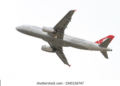 ISTANBUL, TURKEY - SEPTEMBER 30, 2018: Turkish Airlines Airbus A320-232 (CN 3719) takes off from Istanbul Ataturk Airport. THY is the flag carrier of Turkey with 330 fleet size and 304 destinations