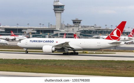 ISTANBUL, TURKEY - SEPTEMBER 30, 2018: Turkish Airlines Boeing 777-FF2 (CN 60403) takes off from Istanbul Ataturk Airport. THY is the flag carrier of Turkey with 330 fleet size and 304 destinations