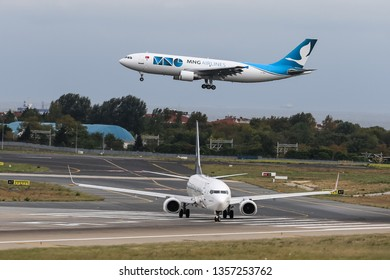 ISTANBUL, TURKEY - SEPTEMBER 30, 2018: MNG Airlines Airbus A300-622RF (CN 734) landing to Istanbul Ataturk Airport. MNG Airlines has 8 fleet size and 13 destinations