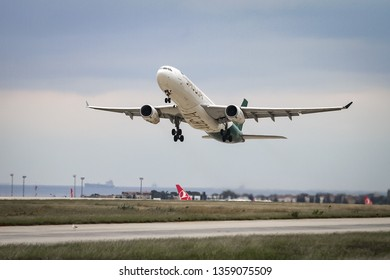 ISTANBUL, TURKEY - SEPTEMBER 30, 2018: Saudi Arabian Airlines Airbus A330-343X (CN 1147) takes off from Istanbul Ataturk Airport. Saudia has 184 fleet size and 89 destinations