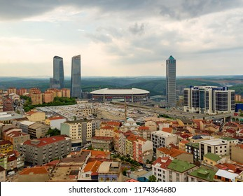 ISTANBUL, TURKEY - SEPTEMBER 6, 2018 : Aerial view of Galatasaray football club stadium Turk Telekom Arena from the view of city.