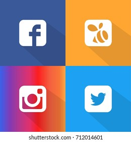 Istanbul, Turkey - September 9, 2017: Collection of popular social media logos printed on paper: Facebook, Instagram, Swarm and Twitter Logo