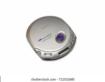 ISTANBUL, TURKEY, SEPTEMBER 9, 2017: Portable compact disc player (Discman) from Sony Corporation, isolated on white background.