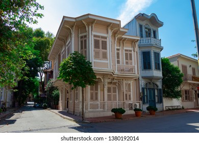 Istanbul, Turkey - September 9, 2018: Beautiful view of historical and traditional wooden building in Buyukada (Princes' Islands), Istanbul, Turkey