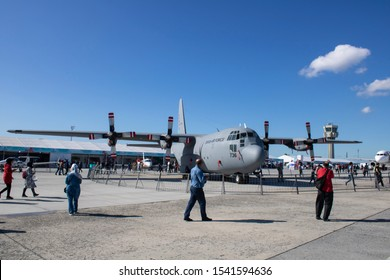 Istanbul, Turkey - September-22,2019:Turkish air force C130 military transport aircraft.