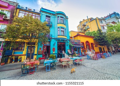 ISTANBUL, TURKEY: Street with colorful houses and multicolor cafe in Istanbul, Sultanahmet. This is the most popular tourist place in Istanbul. On May 4, 2018