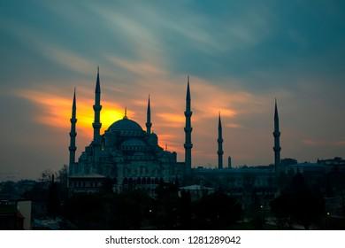 Istanbul, Turkey. Sultan Ahmet Camii named Blue Mosque turkish islamic landmark with six minarets, main attraction of the city.