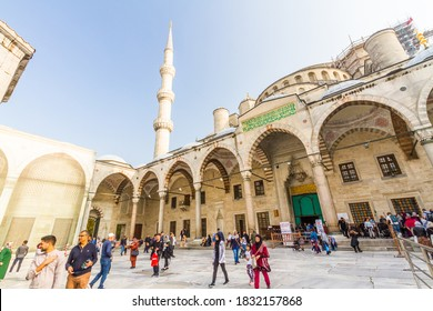 Istanbul, Turkey,  Tourists in the forecourt of the Blue Mosque, landscape, on October 30 2019 in Turkey