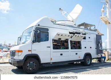 ISTANBUL, TURKEY - TRT WORLD News Truck - Television Network - Broadcast News Van - 08 August 2018