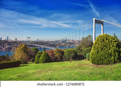 ISTANBUL, TURKEY: View of the Bosphorus and the Fatih Sultan Mehmet Bridge photo, taken from Otagtepe, Beykoz in Istanbul, Turkey