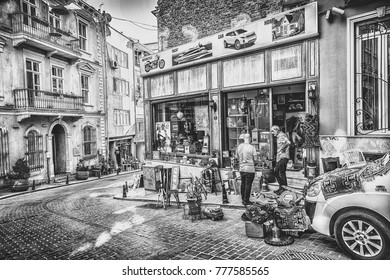 ISTANBUL, TURKEY: Vintage store in Cukurcuma district. Cukurcuma of Beyoglu quarter is the city's oldest antiques district on October 6, 2017