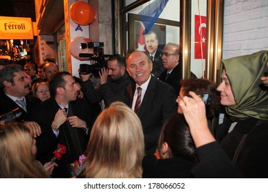 ISTANBUL, TURKEY-FEB 13. Kadir Topda?, the candidate of Justice and Development Party for local elections on 30 March in Istanbul, began for  election campaign on Feb 13, 2014 in Istanbul,Turkey.