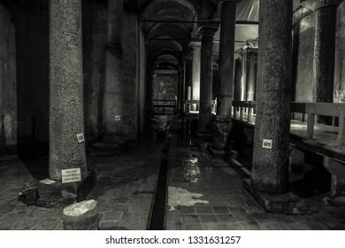 Istanbul, Turkey-February 16, 2019 ; Black and White Yerebatan underground water cistern in Istanbul.