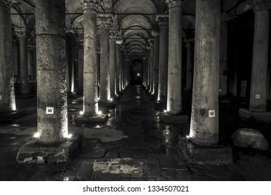Istanbul, Turkey-February 16, 2019 : Black and White Yerebatan underground water cistern  in Istanbul.