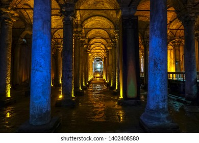 Istanbul, Turkey-February 16, 2019 : Yerebatan underground water cistern in Istanbul.