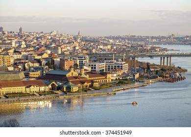 Istanbul, Turkey-February 7, 2016: Sunset view at the Golden Horn or Halic from the famous Pierre Loti Hill, Eyup, Istanbul, Turkey on February 7.