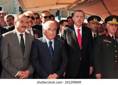 ISTANBUL, TURKEY-JUNE 06: Turkey President Recep Tayyip Erdogan  attend the funeral on June 06,2012 in Istanbul, Turkey.