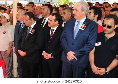 ISTANBUL, TURKEY-JUNE 06: Turkey vice president  Numan Kurtulmus  attend the funeral on June 06,2012 in Istanbul, Turkey.