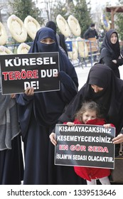 Istanbul, Turkey-March 15, 2019: Muslims gather outside the Fatih Mosque in Istanbul to condemn the attacks on Christchurch in New Zealand, which killed at least 49 people and injured dozens.