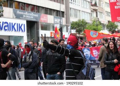 ISTANBUL, TURKEY-MAY 1: Turkish police fired water cannon and tear gas to prevent protesters from defying a ban on May Day rallies and reaching Taksim Square on May 1, 2014 in Istanbul, Turkey.