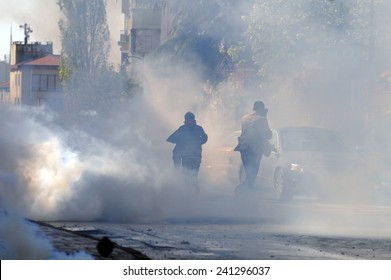 ISTANBUL, TURKEY-MAY 1: Turkish police fired water cannon and tear gas to prevent protesters from defying a ban on May Day rallies and reaching Taksim Square on May 1, 2009 in Istanbul, Turkey.