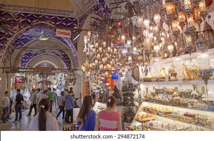 ISTANBUL, TURKEY-MAY 30, 2015: indoor shops and interior architecture of the old traditional market Gran Bazaar, in Istanbul.