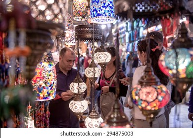 ISTANBUL, TURKEY-MAY 30, 2015: indoor lamp shop of the old traditional market Gran Bazaar, in Istanbul.