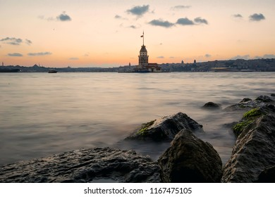 istanbul, uskudar, turkey 12 03 2016- Maiden's Tower- Kizkulesi