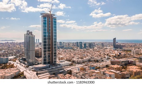 Istanbul, Uskudar / Turkey - September 19 2018 Emaar Shopping Mall Istanbul Aerial View Amazing Buildings