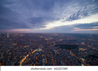 Istanbul view from air shows us amazing twilight scene