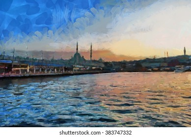 Istanbul watercolor illustration. Turkey.