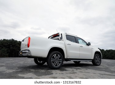 ISTANBUL-15 FEBRUARY 2019: Mercedes X-Class X 350d 4Matic. The Mercedes-Benz X-Class is a luxury pickup truck produced by the German automaker Mercedes-Benz, a division of German company Daimler AG.
