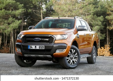 ISTANBUL-AUGUST 06, 2019 : Ford Ranger Wildtrak 4X4 is a range of pickup trucks manufactured and marketed by Ford.