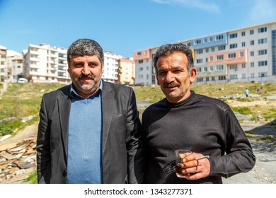Istanbul,Esenyurt/Turkey-03.19.2019:Turkish men posing for a photographer