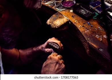 istanbul,fatih/turkey 19,09,2019 a man makn jewelleries hand made