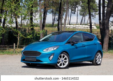 ISTANBUL-JULY 30, 2019: Ford Fiesta is a supermini automobile model produced by Ford Motor Company since 1976, marketed by Ford for seven generations of front-wheel drive B segment.