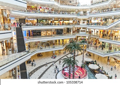 ISTANBUL,JUNE 13,2012: Cevahir Shopping Center;modern shopping mall located in Mecidiyekoy,Istanbul. Opened on 15 October 2005,is the largest shopping mall in Europe, the sixth largest in the world.