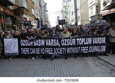 ISTANBUL-MARCH 13: Journalists marched from Galatasaray Square to Taksim Square, demanding the release of arrested colleagues and better protection for press freedom, March 13,2011 in Istanbul,Turkey
