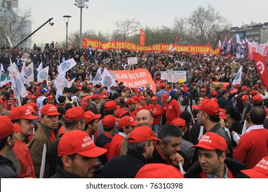 ISTANBUL-MAY 1:May Day rally in Istanbul's Taksim Square draws thousands of laborers May 1,2011 in Istanbul,Turkey.
