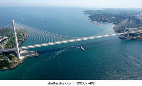 ISTANBUL-May-2018-TURKEY. Yavuz Sultan Selim bridge.3rd Bosphorus Bridge and Northern Marmara Motorway