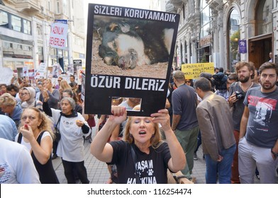 ISTANBUL-OCTOBER 21:Thousands of animal rights activists marched against a draft law on Sunday that would make changes to Turkey's Animal Protection Law No. 5199 on October 21,2012 in Istanbul,Turkey.