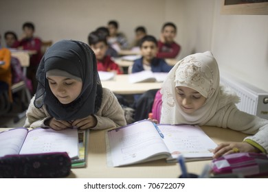 ISTANBUL-TURKEY, 03.03.2016: Syrian refugee children began education in Turkey
