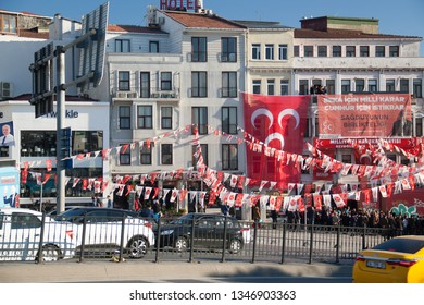 Istanbul/Turkey - 03/17/2019: MHP party congress. People vaiting for the representatives of Nationalist Movement party in Istanbul, Turkey