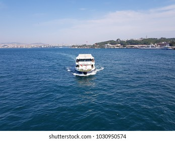 Istanbul/Turkey - 08/06/2017: Istanbul ferry sails on bosfor, view from top, view from Galata Bridge
