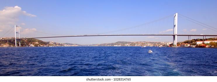 "ISTANBUL,TURKEY 10 05 13: Fatih Sultan Mehmet Bridge (""Sultan Mehmed the Conqueror Bridge""), also known as the Second Bosphorus Bridge spanning the Bosphorus strait"