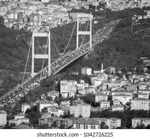 "ISTANBUL,TURKEY 10 05 13: Fatih Sultan Mehmet Bridge (""Sultan Mehmed the Conqueror Bridge""), also known as the Second Bosphorus Bridge spanning the Bosphorus strait"