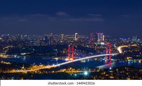 istanbul-turkey. 11.july.2019. 15th july Martyrs Bridge (15 temmuz sehitler koprusu) landscape.  Bosphorus Bridge at night Istanbul, Turkey