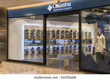 Istanbul,Turkey -13 November 2016: Optimum Avm, Columbia sportswear Company store. Engaged in the production of winter clothing, and sportswear that makes an American company and the Distributor